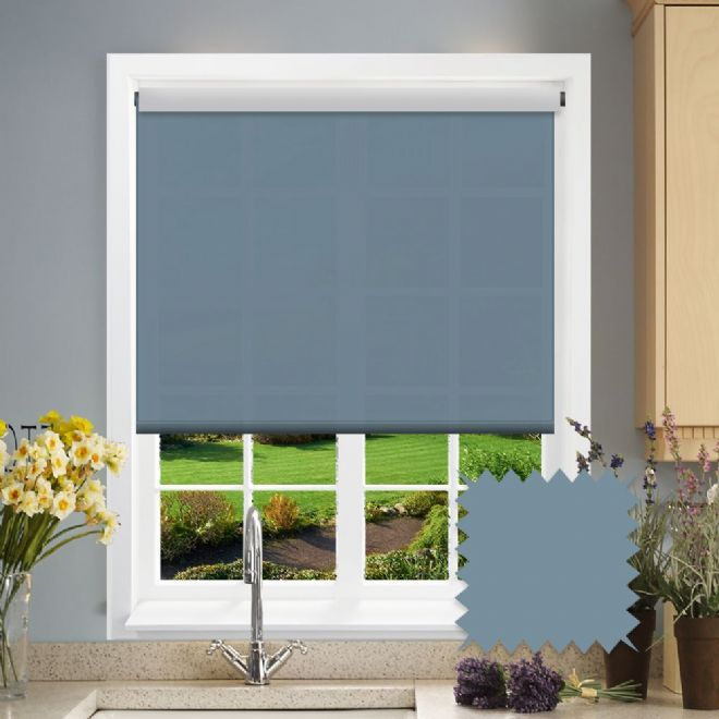 White Roller Blind - Astral Como Blue Plain - Just Blinds